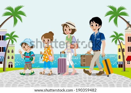 Traveling family in Seaside town -EPS10 - stock vector