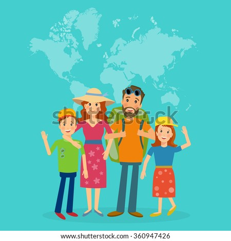 Traveling family vector - stock vector