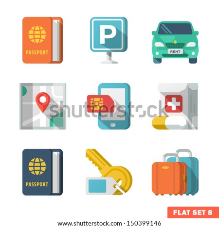 Traveling Flat Icons 2. - stock vector