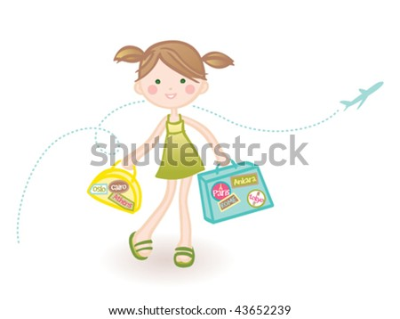 Traveling girl. Vector illustration of a cute girl doing her favorite thing in the world. - stock vector