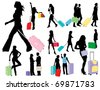 Traveling girls - stock vector