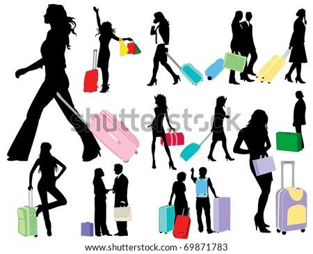 Traveling girls - stock vector