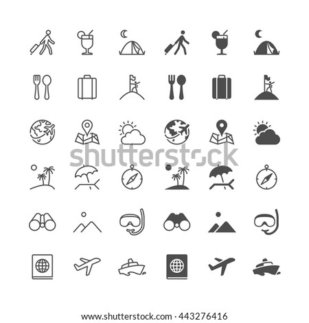 Traveling icons, included normal and enable state. - stock vector
