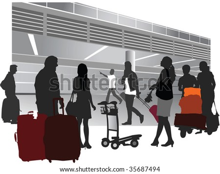 Traveling people inside airport terminal. Vector illustration. - stock vector
