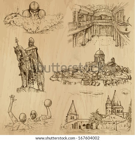 Traveling series: HUNGARY (set no.3) - Collection of hand drawn illustrations (originals, no tracing). Description: Each drawing comprises two layers of outlines, the colored background is isolated. - stock vector