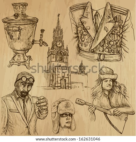 Traveling series: RUSSIA (set no.3) - Collection of hand drawn illustrations (originals, no tracing). Description: Each drawing comprises two layers of outlines, the colored background is isolated. - stock vector