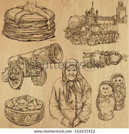 Traveling series: RUSSIA (set no.1) - Collection of hand drawn illustrations (originals, no tracing). Description: Each drawing comprises two layers of outlines, the colored background is isolated. - stock vector