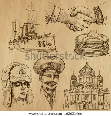 Traveling series: RUSSIA (set no.2) - Collection of hand drawn illustrations (originals, no tracing). Description: Each drawing comprises two layers of outlines, the colored background is isolated. - stock vector
