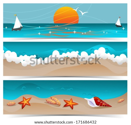 Traveling summer banners.  - stock vector