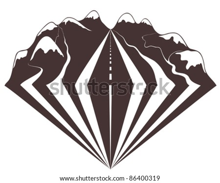 Traveling through mountains by car impressions. I love nature through the window of my car. - stock vector