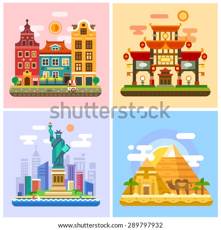 Traveling to the capitals of various countries.Walks in Europe, Japan Sunset, the deserts of Egypt, the Statue of Liberty in New York. Vector flat illustration - stock vector