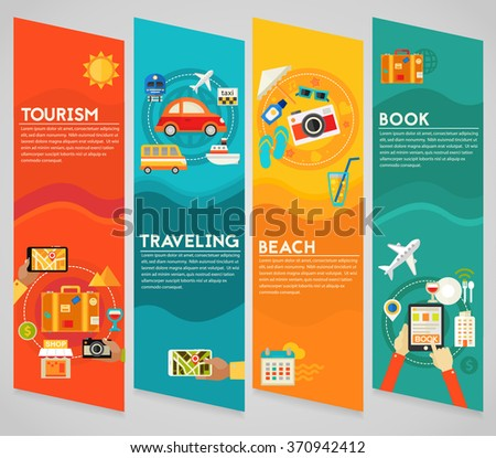 Traveling & Tourism Concepts - Sightseeing and Shopping, Searching and Booking, Holidays and Vacation On the Beach, Transportation. Vertical Banner - stock vector