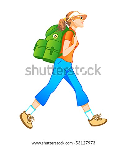 Traveling tourist girl with backpack profile isolated - stock vector