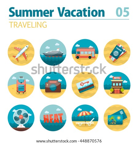 Traveling vector icon set. Summer time. Vacation, eps 10 - stock vector