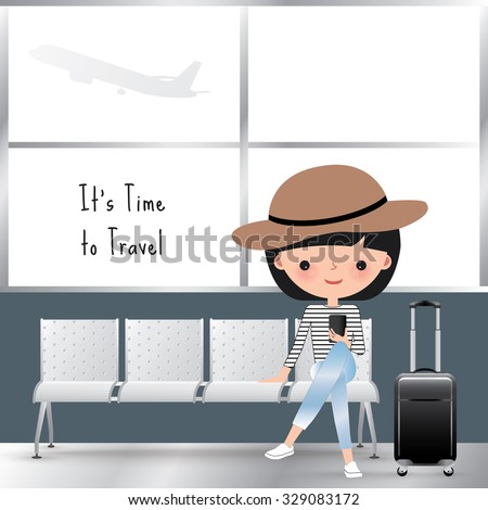 Travelling woman cartoon sitting at the airport - stock vector