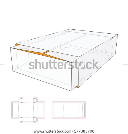 tray sleeve storage box diecut layout stock vector 177383708 shutterstock. Black Bedroom Furniture Sets. Home Design Ideas