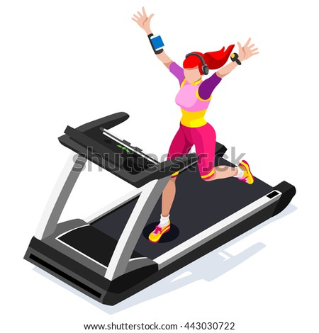Treadmill Gym Class Working Out. Gym Equipment Treadmill Running Athlete Runners Working Out Fitness Gym Class. 3D Flat Isometric Marathon Runners athlete training Fitness Class Vector Image. - stock vector