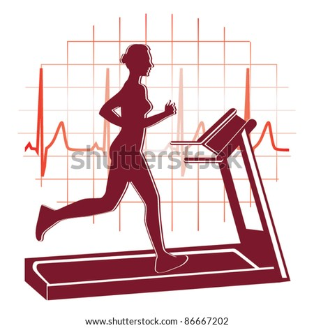 Treadmill workout icon vector