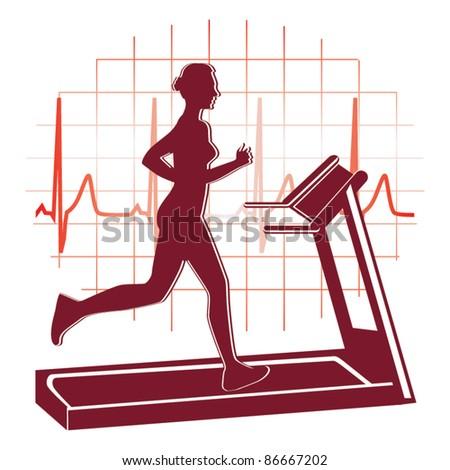 Treadmill workout icon vector - stock vector