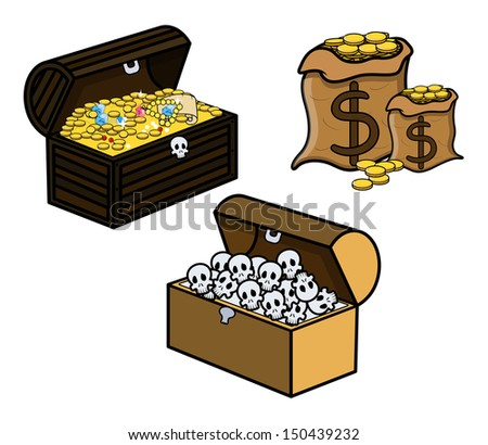 Treasure and Skull Filled Trunks and Bag of Coins - Cartoon Vector Illustration - stock vector