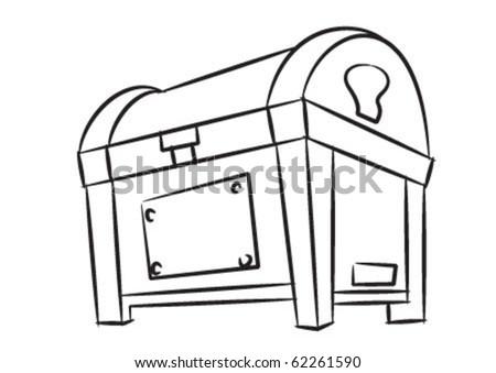 Treasure box in black and white - stock vector