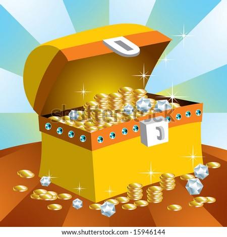 Treasure chest. - stock vector