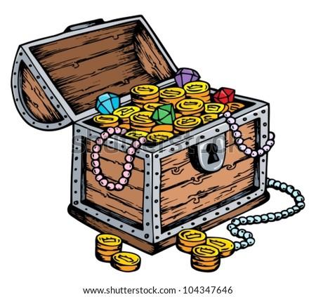 Treasure chest drawing - vector illustration. - stock vector
