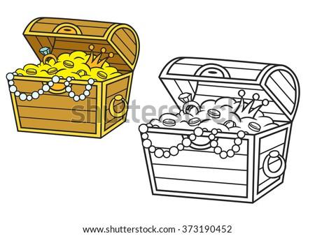 treasure chest full gold jewels cartoon stock vector royalty free