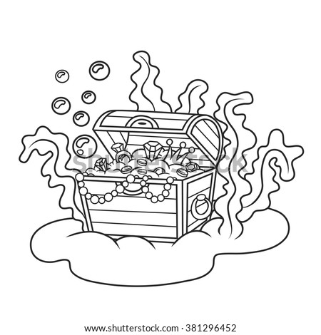 treasure chest full of gold and jewelscoloring book - Open Treasure Chest Coloring Page