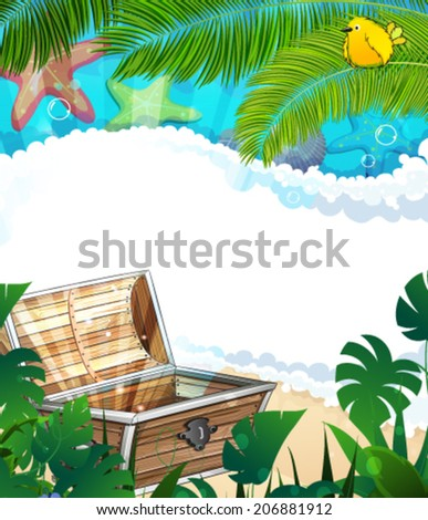 Treasure Chest on a sandy beach with lush tropical vegetation and animals - stock vector