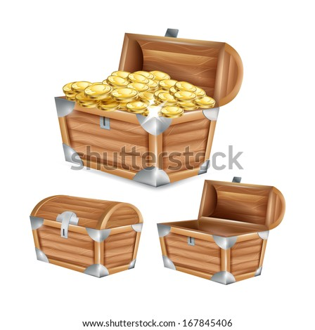 treasure chest; open, closed and with golden coins isolated on white - stock vector