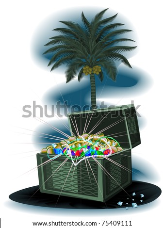 Treasure Chest under a palm tree at night