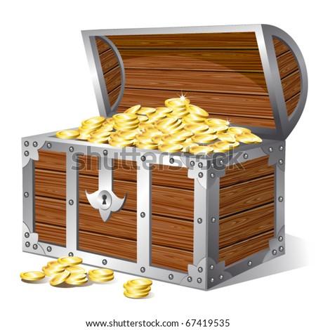 Treasure chest. Vector - stock vector