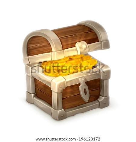 Treasure chest, vector illustration isolated on white background - stock vector