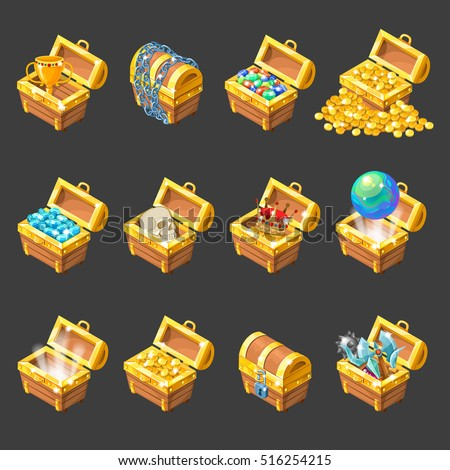 treasure chests isometric cartoon set golden stock vector