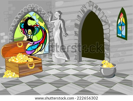 Treasure house with the statue and stained-glass window - stock vector