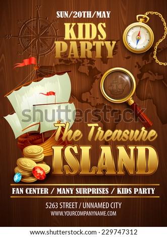 Treasure Island party flyer. Vector templatev - stock vector