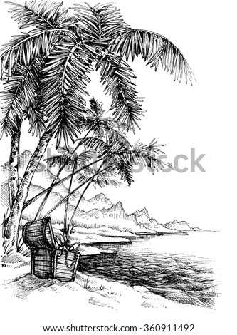 Treasure island sketch. Beautiful palm trees on sea shore and a treasure chest - stock vector