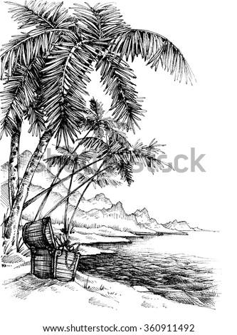 Treasure island sketch. Beautiful palm trees on sea shore and a treasure chest - stock vector