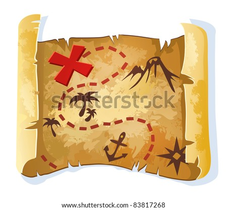 Treasure map - stock vector