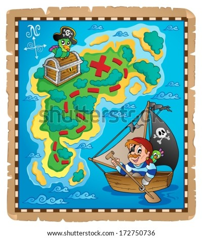 Treasure map topic image 3 - eps10 vector illustration. - stock vector