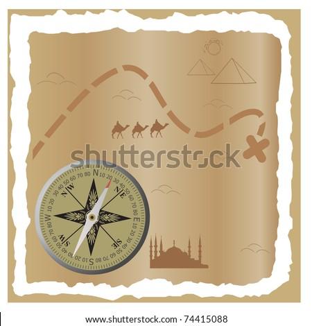 Treasure map. Vector illustration - stock vector