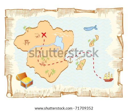 Treasure map. Vector old paper background - stock vector