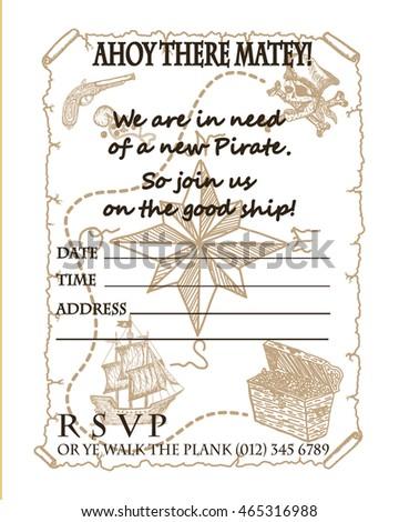 Treasure map vector pirate party invitation stock vector 465316988 treasure map vector pirate party invitation card design stopboris Image collections