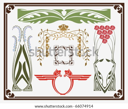 treasures of historical design - art-nouveau (based on original) - stock vector