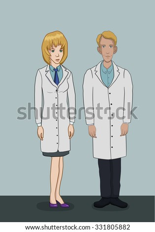 Treatment in the hospital - checkup at doctors - The team of doctors in white coats - a man and a woman in full growth - stock vector