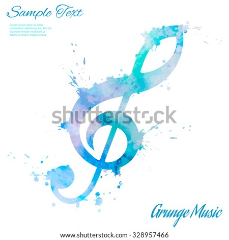 Treble clef, abstract composition with place for text, design elements, vector illustration - stock vector
