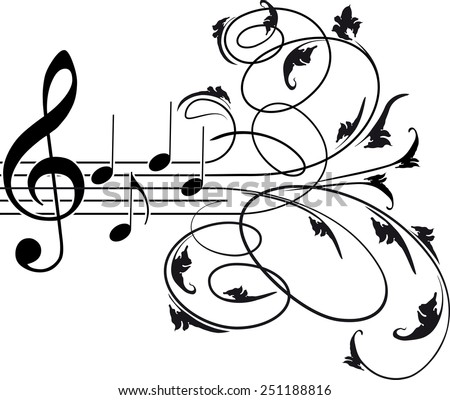Treble clef and musical notes with decorative floral swirls - stock vector