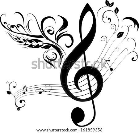 treble clef and note - stock vector