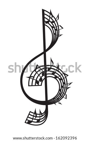 treble clef and notes - stock vector
